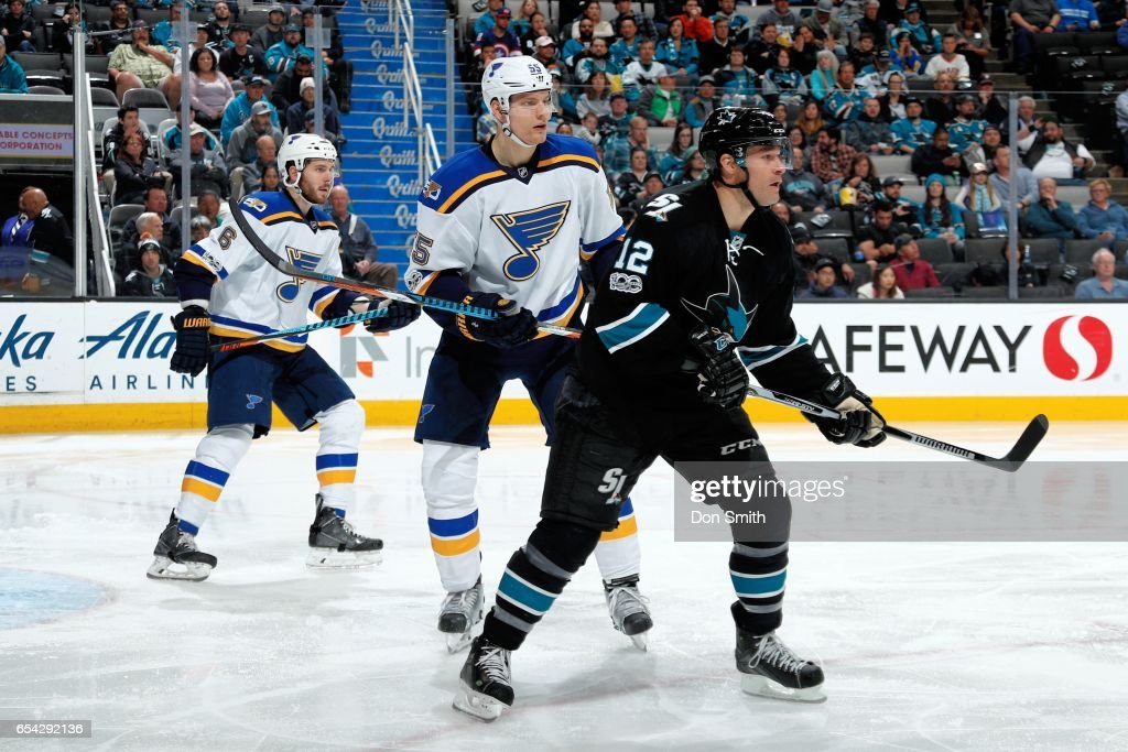 Patrick Marleau #12 of the San Jose Sharks along with Joel Edmundson #6 and Colton Parayko #55 of the St. Louis Blues look down ice during a NHL game at SAP Center at San Jose on March 16, 2017 in San Jose, California.