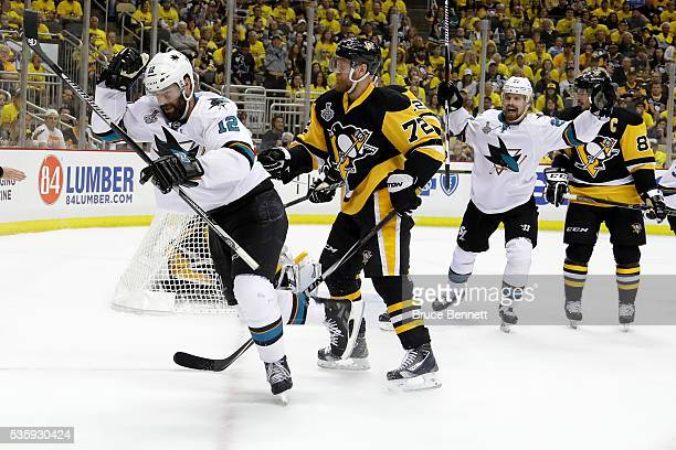 Patrick Marleau of the San Jose Sharks and Joonas Donskoi celebrate after Marleau's second period goal against Matt Murray of the Pittsburgh Penguins...