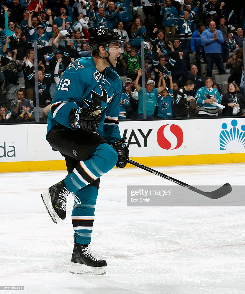 Patrick Marleau #12 of the San Jose Sharks celebrates his goal against the Los Angeles Kings during the Western Conference First Round during the 2016 NHL Stanley Cup Playoffs at the SAP Center at San Jose on April 20, 2016 in San Jose, California.