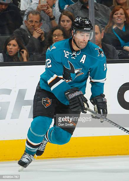 Patrick Marleau of the San Jose Sharks collects the puck against the Anaheim Ducks during an NHL game on November 29, 2014 at SAP Center in San Jose,...