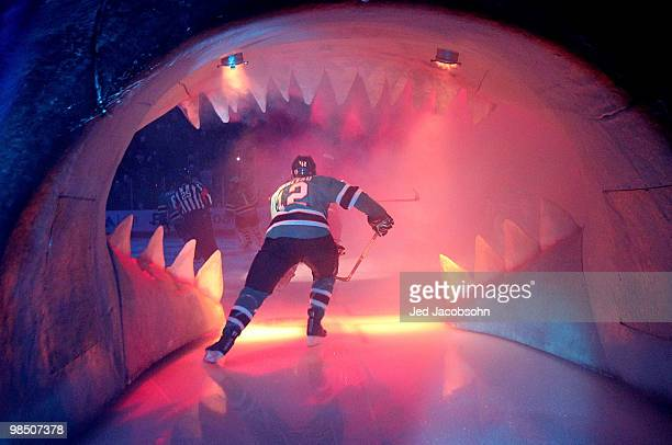 Patrick Marleau of the San Jose Sharks enters the ice against the Colorado Avalanche in Game Two of the Western Conference Quarterfinals during the...