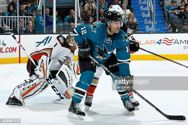 Patrick Marleau of the San Jose Sharks gets in front of the net during a NHL game against the Anaheim Ducks at SAP Center at San Jose on November 26,...