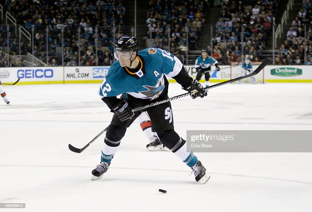 Patrick Marleau #12 of the San Jose Sharks in action against the Ottawa Senators at SAP Center on February 28, 2015 in San Jose, California.