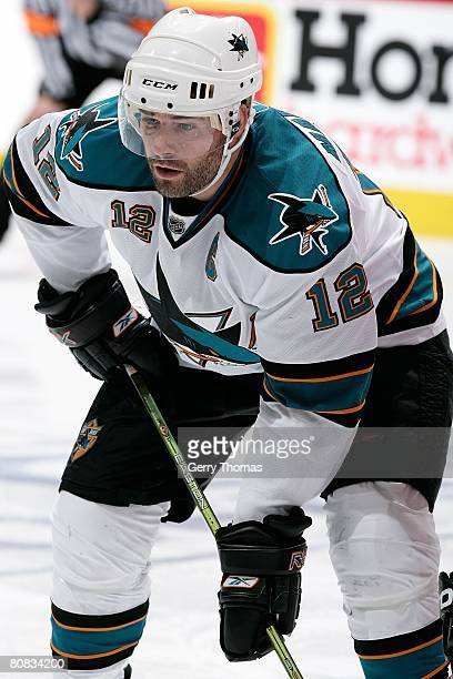 Patrick Marleau of the San Jose Sharks lines up for the face off against the Calgary Flames during game six of the 2008 NHL Stanley Cup Playoffs...