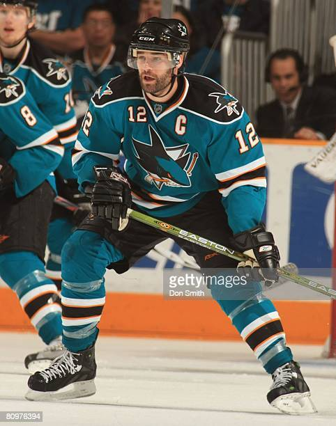 Patrick Marleau of the San Jose Sharks plays defense during game two of the 2008 NHL Stanley Cup Playoffs conference quarterfinal series against the...