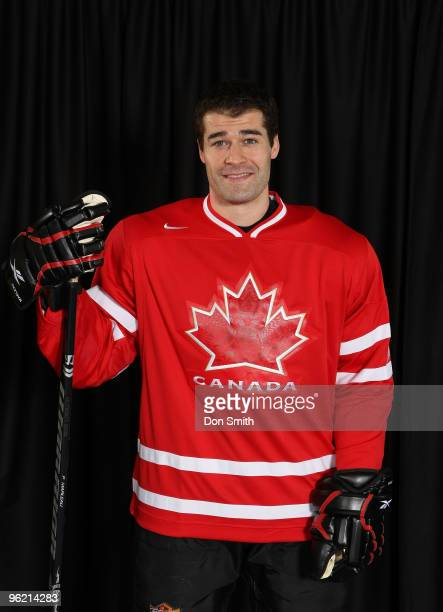 Patrick Marleau of the San Jose Sharks poses for his Olympic Photo Shoot in his team Canada jersey for the 2010 Olympics