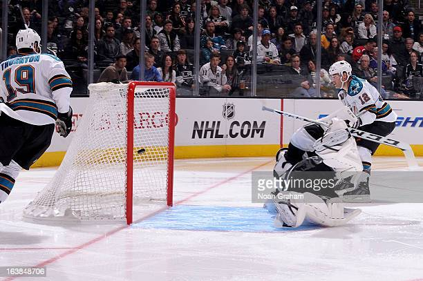Patrick Marleau of the San Jose Sharks shoots and scores a goal against Jonathan Bernier of the Los Angeles Kings at Staples Center on March 16 2013...