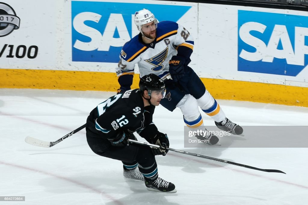 Patrick Marleau #12 of the San Jose Sharks skates against Alex Pietrangelo #27 of the St. Louis Blues at SAP Center at San Jose on March 16, 2017 in San Jose, California.