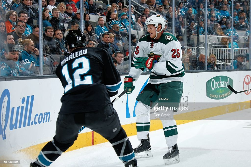 Patrick Marleau #12 of the San Jose Sharks skates against Jonas Brodin #25 of the Minnesota Wild during a NHL game at SAP Center at San Jose on January 5, 2017 in San Jose, California.