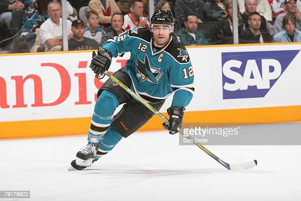 Patrick Marleau of the San Jose Sharks skates during an NHL game vs the Detroit Red Wings on January 19 2008 at HP Pavilion at San Jose in San Jose...