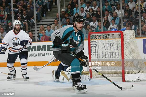 Patrick Marleau of the San Jose Sharks skates during game five of the Western Conference Semifinalsagainst the Edmonton Oilers on May 14 2006 at the...