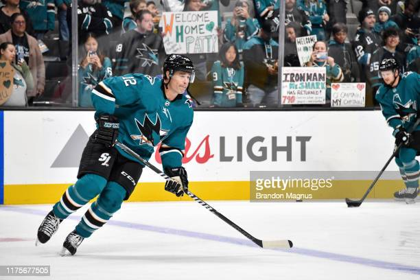 Patrick Marleau of the San Jose Sharks skates during warmups against the Calgary Flames at SAP Center on October 13 2019 in San Jose California