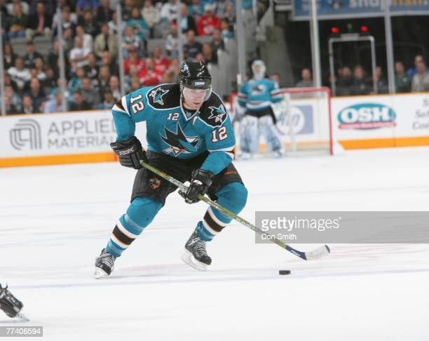 Patrick Marleau of the San Jose Sharks skates on the ice against the Detroit Red Wings during an NHL game on October 18 2007 at HP Pavilion at San...