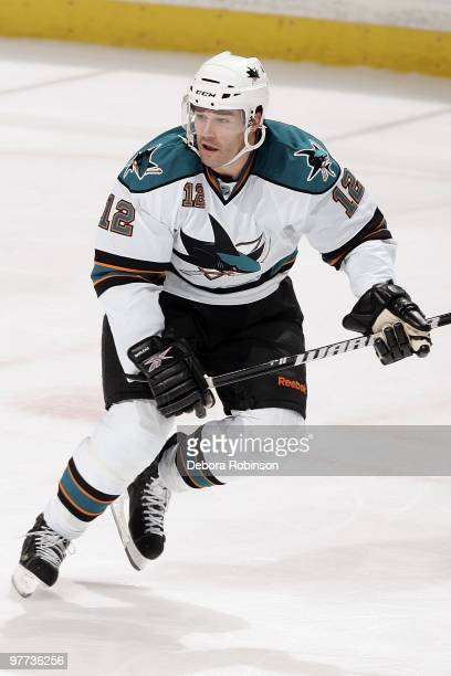 Patrick Marleau of the San Jose Sharks skates on the ice against the Anaheim Ducks during the game on March 14 2010 at Honda Center in Anaheim...