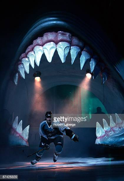 Patrick Marleau of the San Jose Sharks skates onto the ice before the start of the game against the Nashville Predators in game three of the Western...