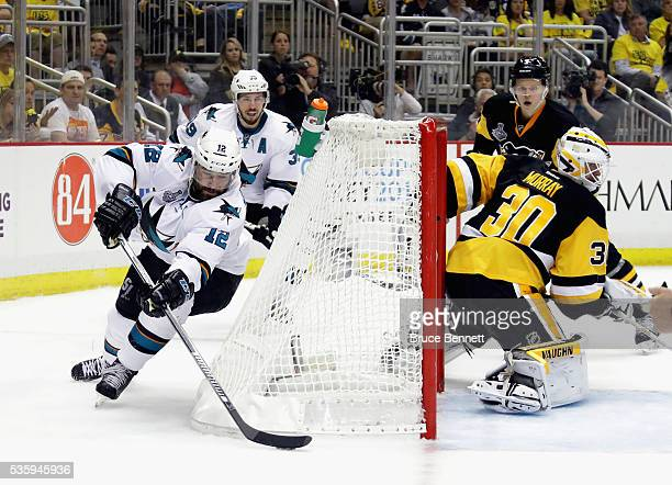 Patrick Marleau of the San Jose Sharks skates prior to scoring a second period goal against Matt Murray of the Pittsburgh Penguins in Game One of the...