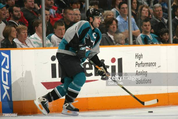 Patrick Marleau of the San Jose Sharks skates with the puck against the Columbus Blue Jackets on March 16 2007 at the HP Pavilion in San Jose...