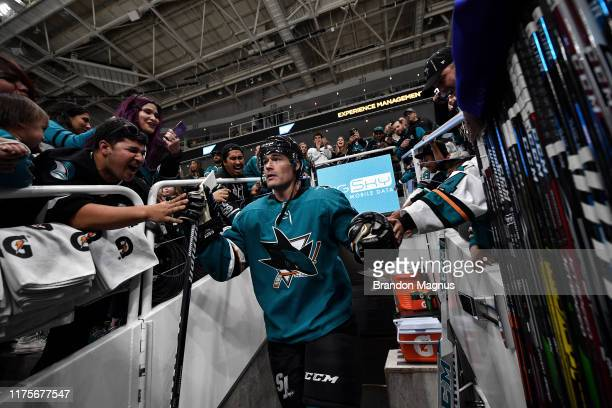 Patrick Marleau of the San Jose Sharks takes the ice for warmups against the Calgary Flames at SAP Center on October 13 2019 in San Jose California