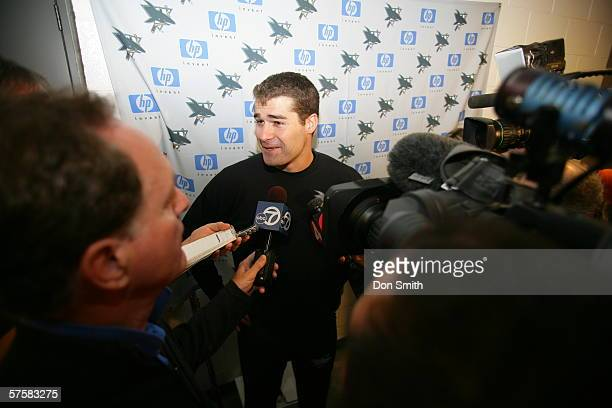 Patrick Marleau of the San Jose Sharks talks with the media prior to Game 2 of the Western Conference Semifinals against the Edmonton Oilers on May...
