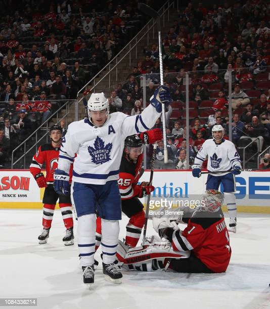 Patrick Marleau of the Toronto Maple Leafs celebrates his first period goal against Keith Kinkaid of the New Jersey Devils at the Prudential Center...