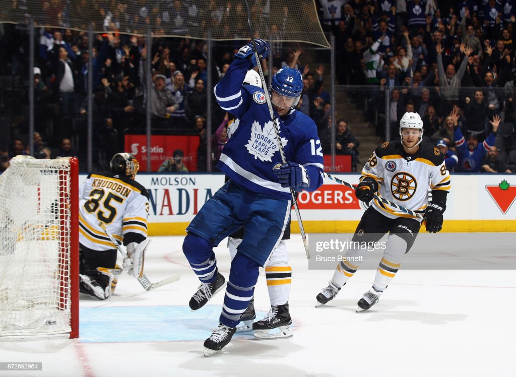 Patrick Marleau #12 of the Toronto Maple Leafs celebrates his game winning goal at 1:07 of overtime aganst the Boston Bruins at the Air Canada Centre on November 10, 2017 in Toronto, Canada. The Leafs defeated the Bruins 3-2 in overtime.