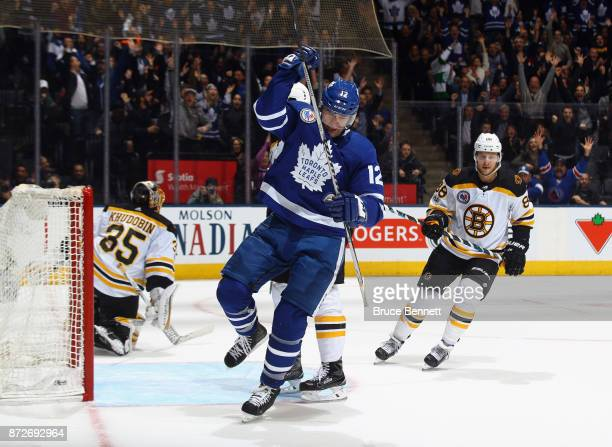 Patrick Marleau of the Toronto Maple Leafs celebrates his game winning goal at 107 of overtime aganst the Boston Bruins at the Air Canada Centre on...