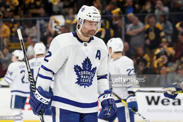 Patrick Marleau of the Toronto Maple Leafs looks on during the third period of Game Seven of the Eastern Conference First Round against the Boston...
