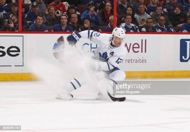 Patrick Marleau of the Toronto Maple Leafs stickhandles the puck against the Ottawa Senators at Canadian Tire Centre on January 20 2018 in Ottawa...