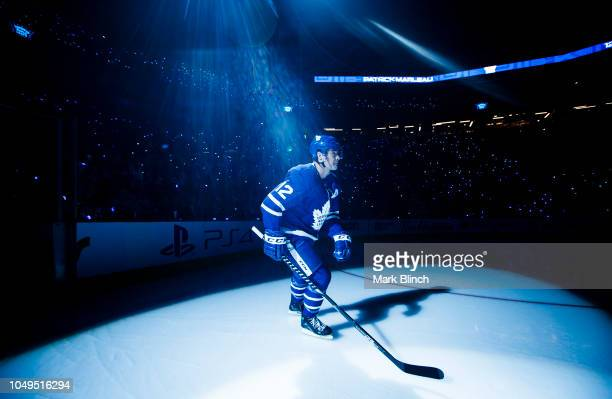 Patrick Marleau of the Toronto Maple Leafs takes the ice during player introductions on opening night before playing the Montreal Canadiens at the...