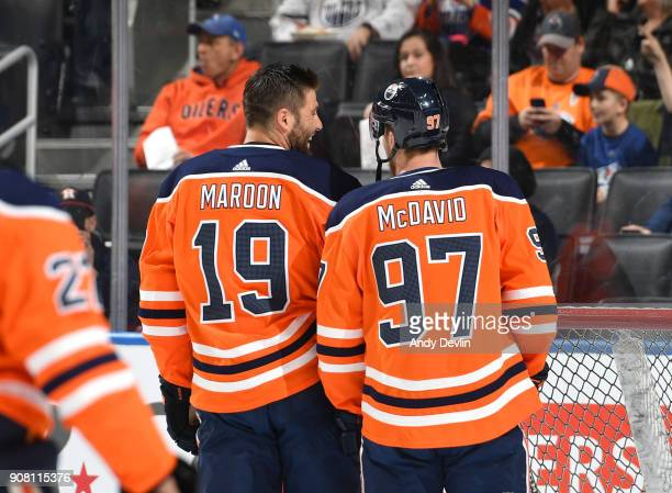 Patrick Maroon and Connor McDavid of the Edmonton Oilers warms up prior to the game against the Vancouver Canucks on January 20 2017 at Rogers Place...