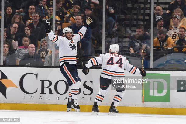 Patrick Maroon and Zack Kassian of the Edmonton Oilers celebrate a goal in the second period against the Boston Bruins at the TD Garden on November...