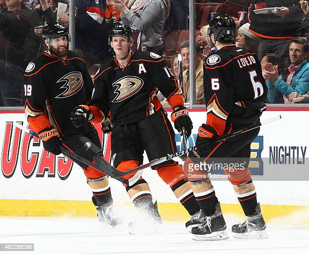 Patrick Maroon Corey Perry and Ben Lovejoy of the Anaheim Ducks celebrate during the game against the Toronto Maple Leafs on January 14 2015 at Honda...