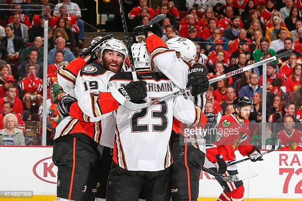 Patrick Maroon of the Anaheim Ducks celebrates after scoring against the Chicago Blackhawks in the first period in Game Three of the Western...