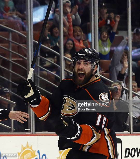 Patrick Maroon of the Anaheim Ducks celebrates his goal at 14:17 of the first period against the Tampa Bay Lightning at the Honda Center on February...