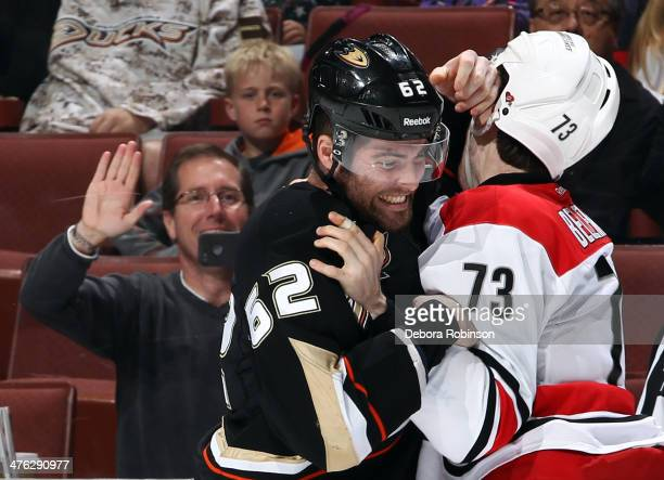 Patrick Maroon of the Anaheim Ducks mixes it up with Brett Bellemore of the Carolina Hurricanes on March 2, 2014 at Honda Center in Anaheim,...
