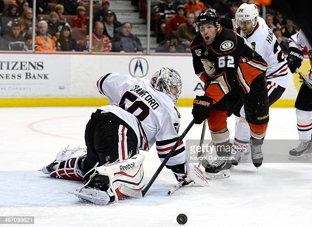 Patrick Maroon of the Anaheim Ducks reacts after goalkeeper Corey Crawford of the Chicago Blackhawks blocked his shot on goal at Honda Center on...