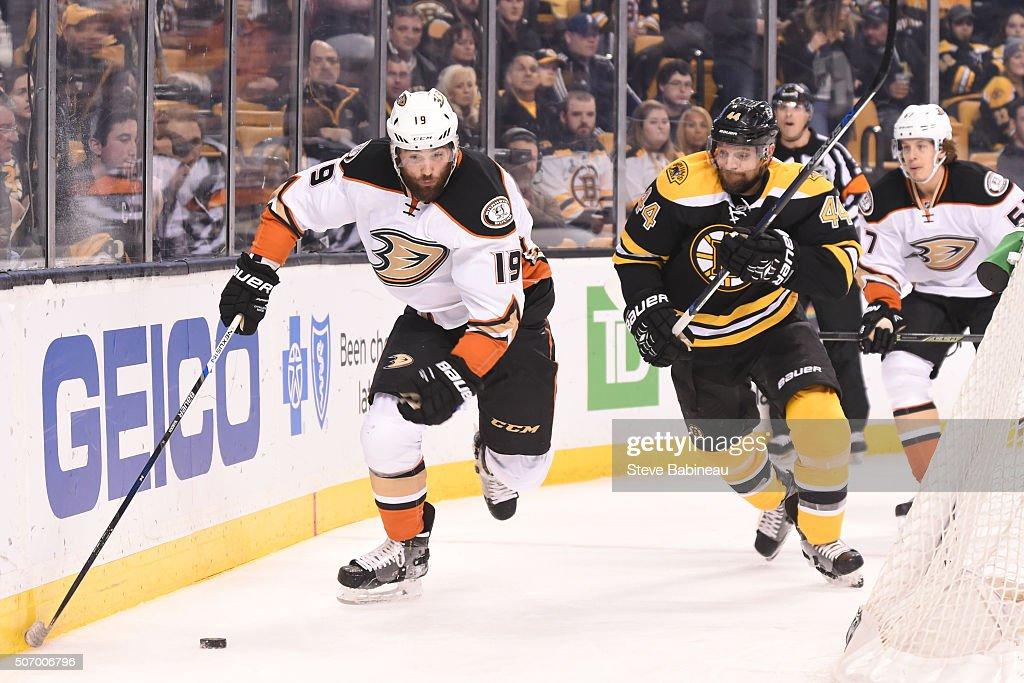 Patrick Maroon #19 of the Anaheim Ducks skates against Dennis Seidenberg #44 of the Boston Bruins at the TD Garden on January 26, 2016 in Boston, Massachusetts.
