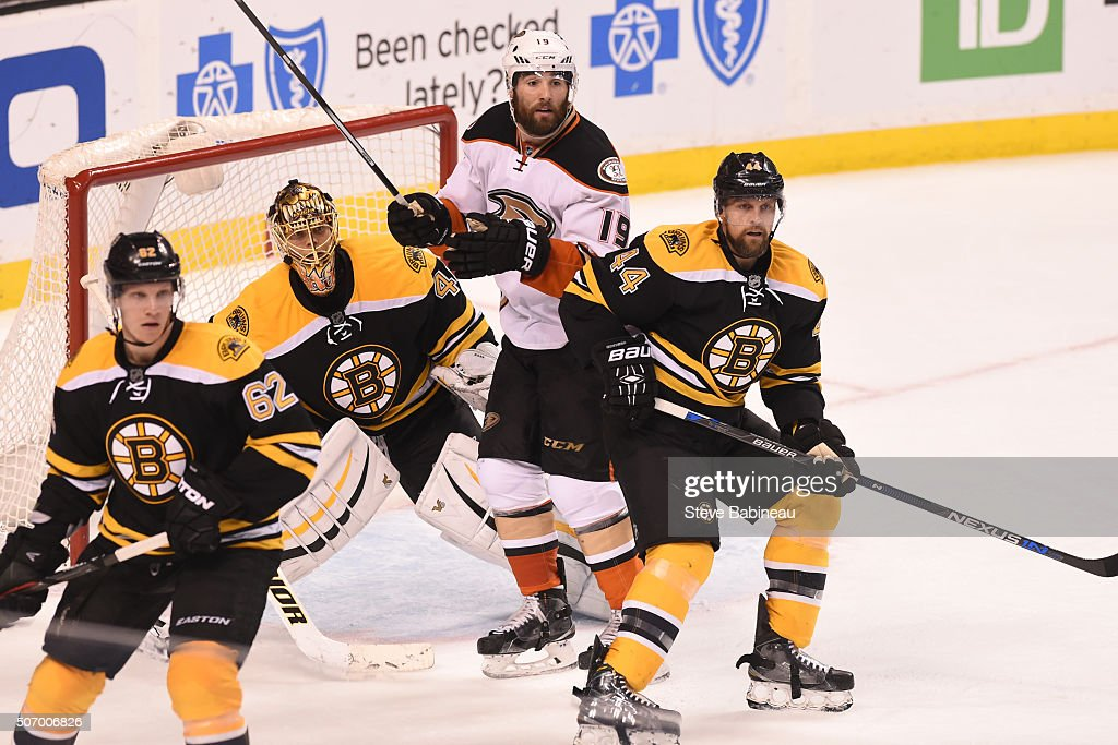 Patrick Maroon #19 of the Anaheim Ducks watches the play against Tuukka Rask #40 and Dennis Seidenberg #44 of the Boston Bruins at the TD Garden on January 26, 2016 in Boston, Massachusetts.
