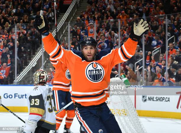 Patrick Maroon of the Edmonton Oilers celebrates after a goal during the game against the Vegas Golden Knights on November 14 2017 at Rogers Place in...