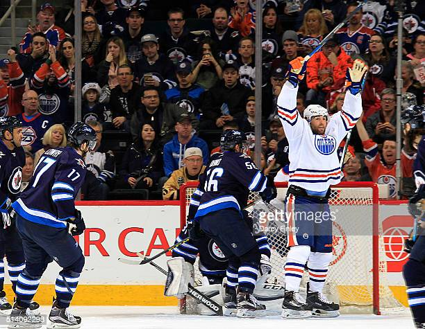 Patrick Maroon of the Edmonton Oilers celebrates after scoring a second period goal against the Winnipeg Jets at the MTS Centre on March 6 2016 in...