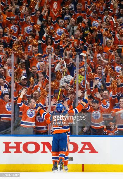 Patrick Maroon of the Edmonton Oilers celebrates his goal against the San Jose Sharks in Game Five of the Western Conference First Round during the...