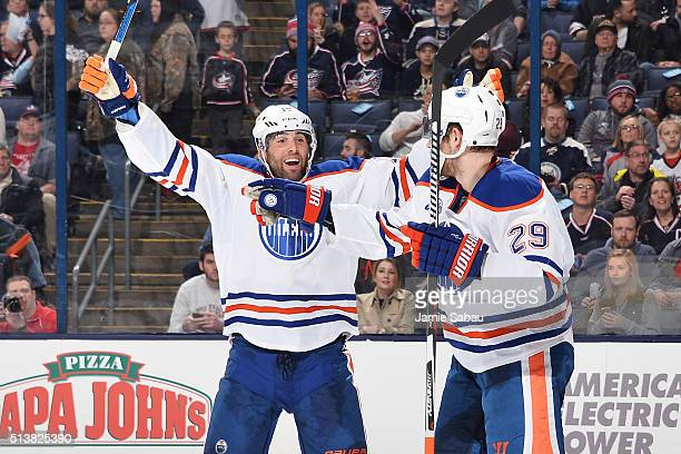 Patrick Maroon of the Edmonton Oilers reacts after Leon Draisaitl of the Edmonton Oilers scores a goal during the second period of a game against the...