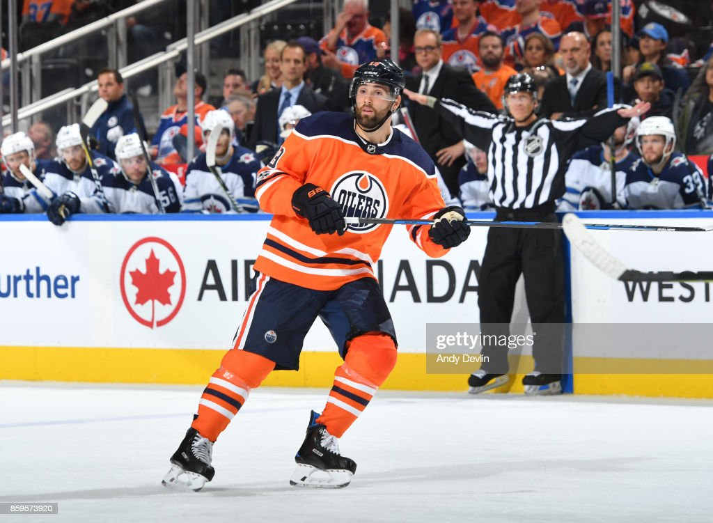 Patrick Maroon #19 of the Edmonton Oilers skates during the game against the Winnipeg Jets on October 9, 2017 at Rogers Place in Edmonton, Alberta, Canada.