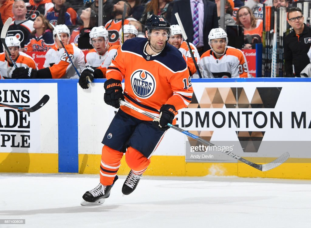 Patrick Maroon #19 of the Edmonton Oilers skates during the game against the Philadelphia Flyers on December 6, 2017 at Rogers Place in Edmonton, Alberta, Canada.