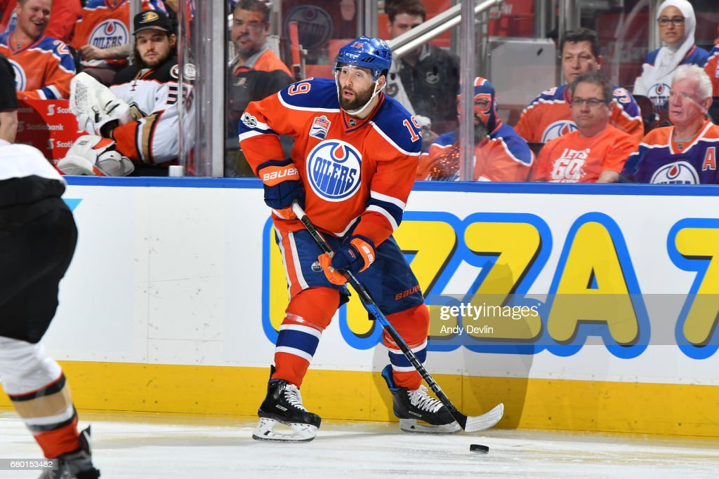 Patrick Maroon #19 of the Edmonton Oilers skates in Game Six of the Western Conference Second Round during the 2017 NHL Stanley Cup Playoffs against the Anaheim Ducks on MAY 7, 2017 at Rogers Place in Edmonton, Alberta, Canada.
