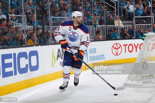 Patrick Maroon of the Edmonton Oilers skates with control of the puck against the San Jose Sharks in Game Three of the Western Conference First Round...