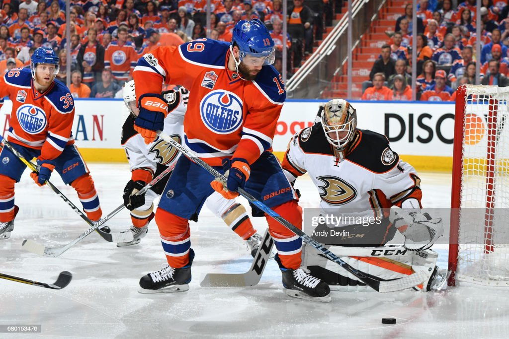Patrick Maroon #19 of the Edmonton Oilers takes a shot on Jonathan Bernier #1 in Game Six of the Western Conference Second Round during the 2017 NHL Stanley Cup Playoffs on MAY 7, 2017 at Rogers Place in Edmonton, Alberta, Canada.