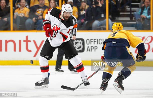 Patrick Maroon of the New Jersey Devils skates against the Nashville Predators during an NHL game at Bridgestone Arena on March 10 2018 in Nashville...