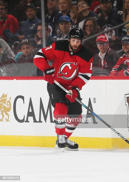 Patrick Maroon of the New Jersey Devils skates during the game against the Winnipeg Jets at Prudential Center on March 8 2018 in Newark New Jersey