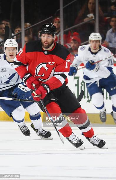 Patrick Maroon of the New Jersey Devils skates in Game Four of the Eastern Conference First Round against the Tampa Bay Lightning during the 2018 NHL...